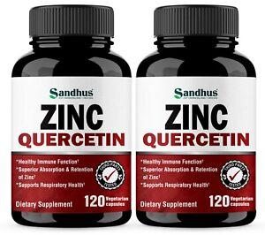 Zinc with Quercetin 120 Capsules - Best Quercetin Zinc Supplement (2 Pack)