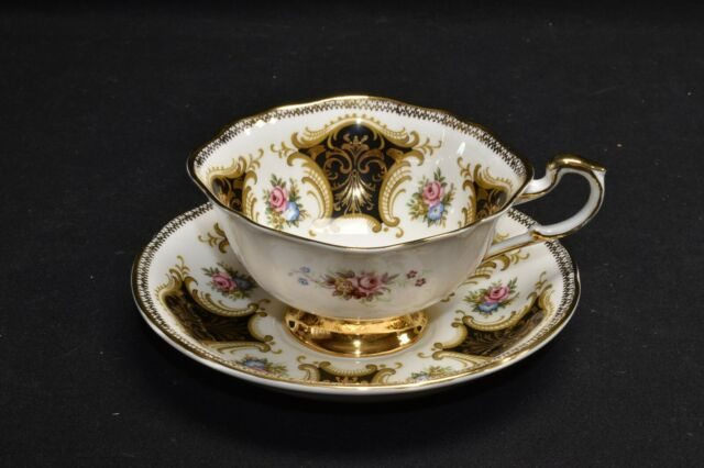 Paragon By Appointment IC/G Black Gold Pink Rose Cup & Saucer