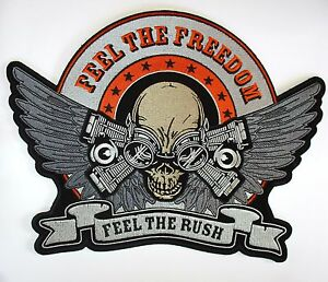V Twin speed Large back Patch Sew//Iron Men/'s shed Rider biker Motorcycle Vest