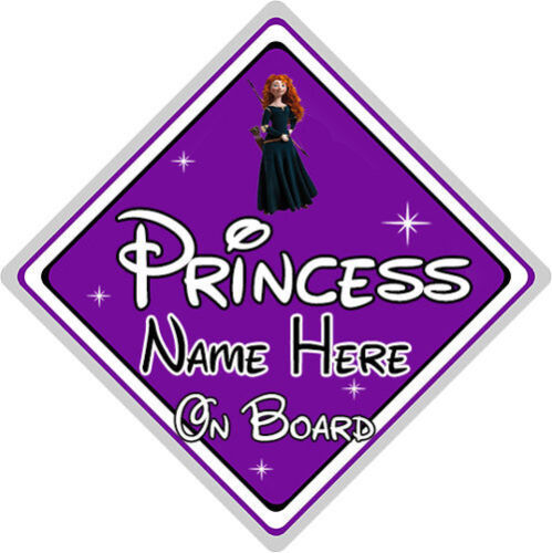 Purple Personalised Disney Princess On Board Car Sign Merida From Brave