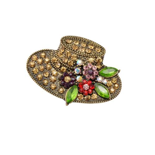 Femmes Fancy HAT Strass Broches Alliage Broche Pins Bijoux