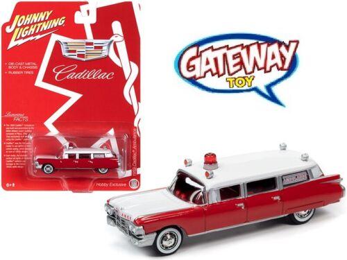 1//64 Johnny Lightning 1959 Cadillac Ambulance Diecast Model Red White JLSP098