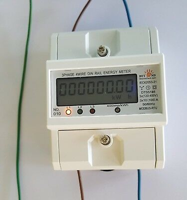 DIN rail type 120//480V Electrical KWh Meter Up to 100 Amps internal CTs