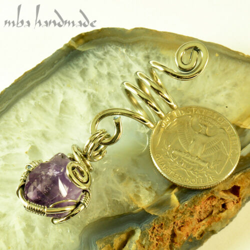 Spiral Silver Wire Amethyst Point Viking Hair Beads Beard Dreadlock Jewelry