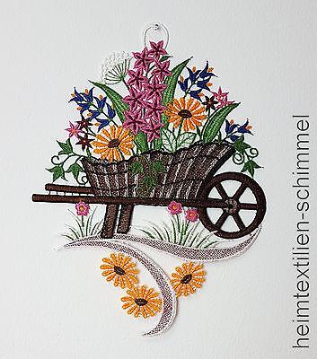 PLAUENER SPITZE ® Fensterbild MARGERITEN Frühling SOMMER Fensterdekoration BLUME