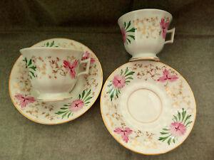 Set-2-Tea-Cup-amp-Saucer-VISTA-ALEGRE-Mark-1947-1968-Hand-Paint-Rare-Collection