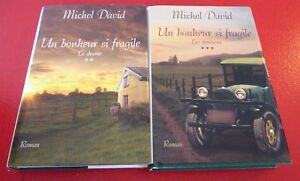 Lot-of-2-Hard-Cover-French-Books-Un-Bonheur-si-Fragile-Michel-David