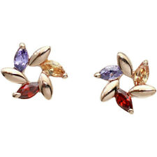 Rose gold finish multi colour star stud earrings quality jewellery UK gift boxed