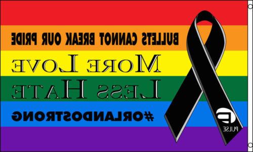 "/""RAINBOW BLACK RIBBON/"" flag 3x5 ft poly love hate bullet pulse pride orlando"