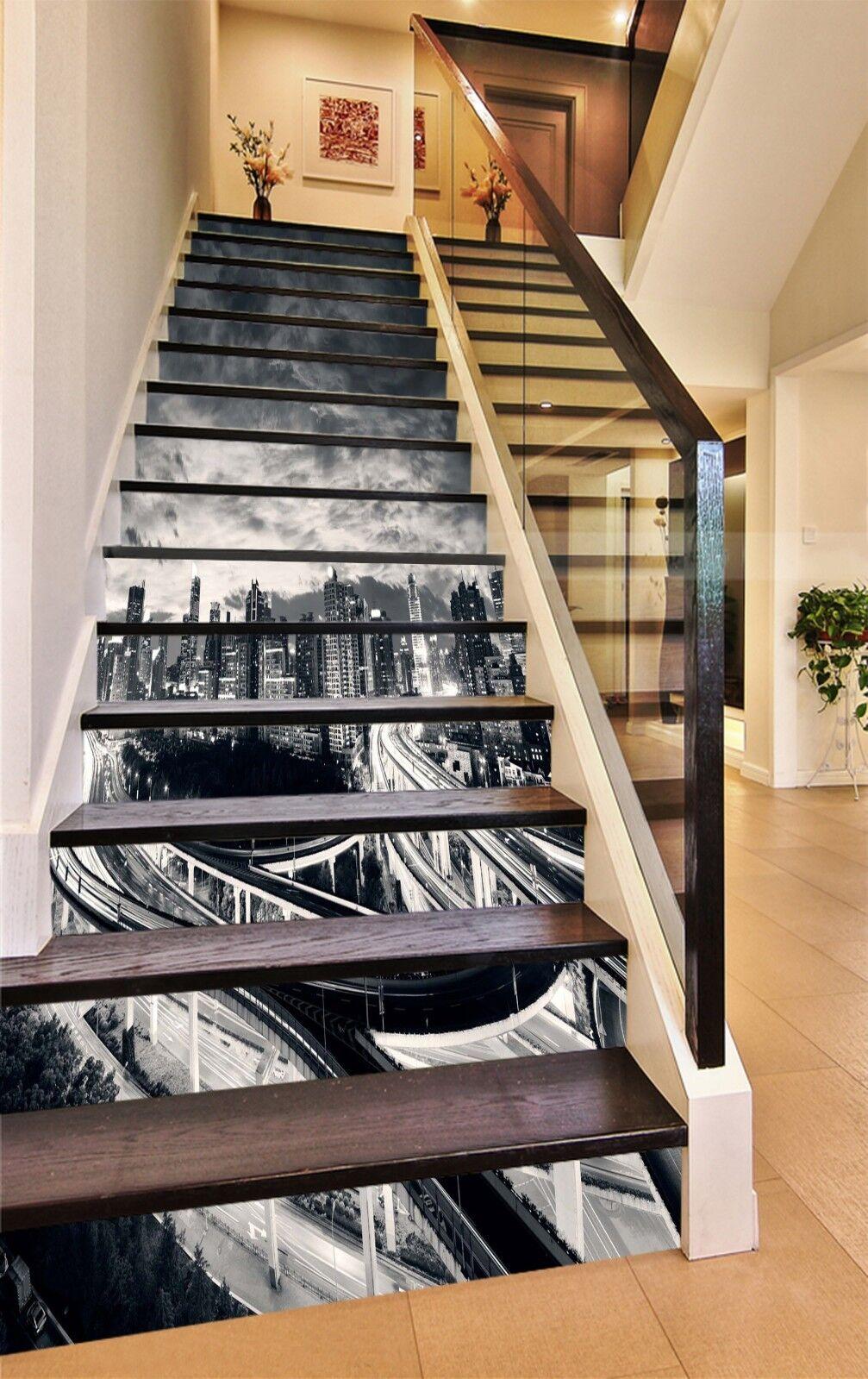 3D grau city 25 Stair Risers Decoration Photo Mural Vinyl Decal Wallpaper UK