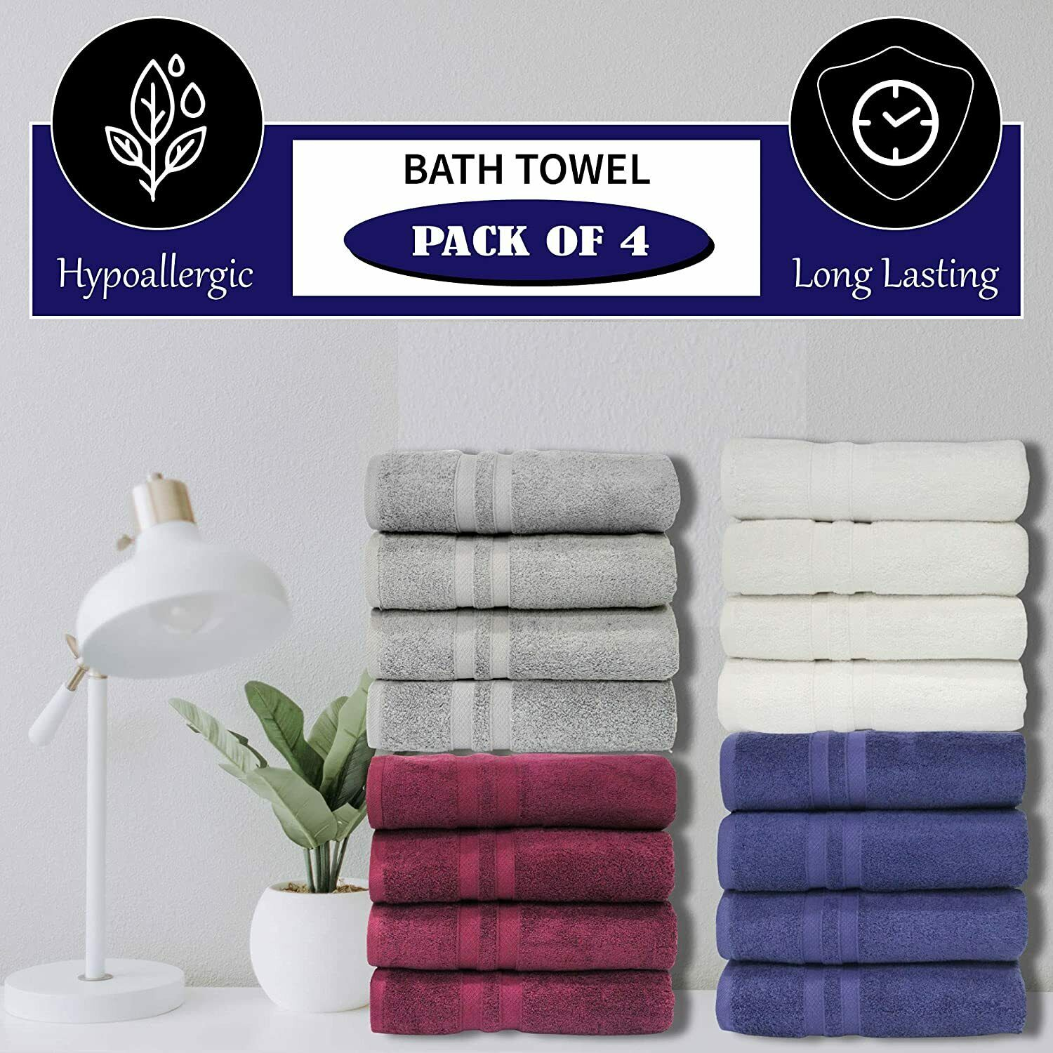 Premium Bath Towels Set 600 GSM 100% Cotton Highly Absorbent Soft Pack of 4