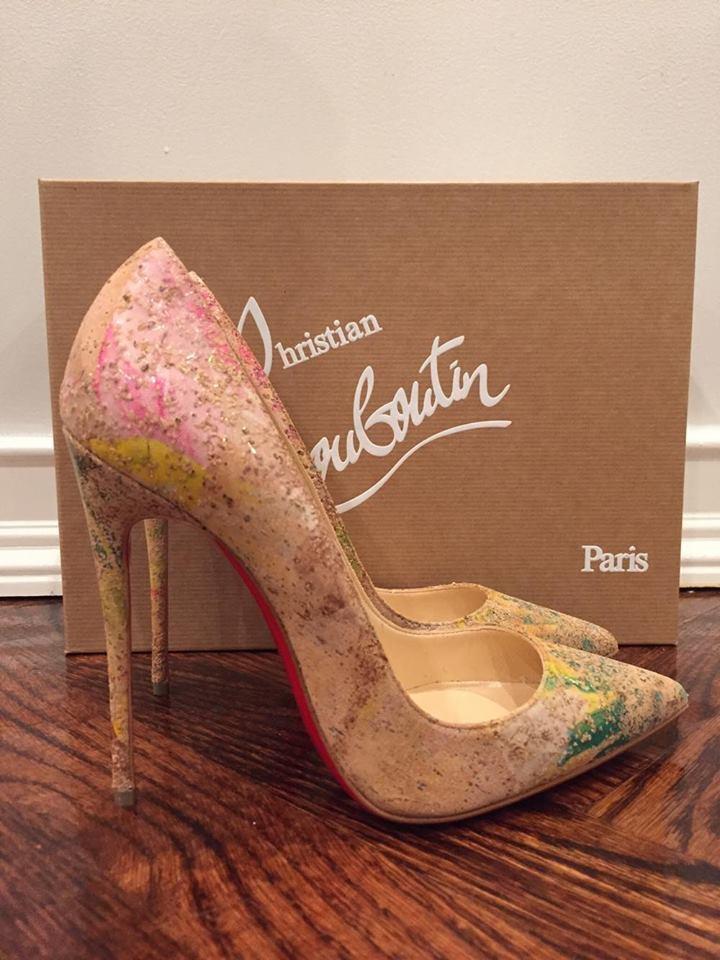 NIB Christian Louboutin So Kate 120 Cork Blooming Paint Thin Heel Pump Shoe 35