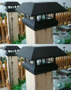 2 kits black new outdoor garden solar panel post deck cap for Garden decking kits on ebay