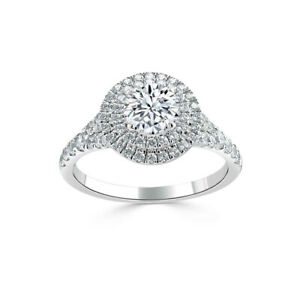 1.70 Ct Round Genuine Moissanite Engagement Ring 14K Solid White Gold Size 4.5 5