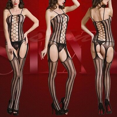 Women Sexy Lingerie Fishnet Crotchless Body Stocking Bodysuit Nightwear Babydoll