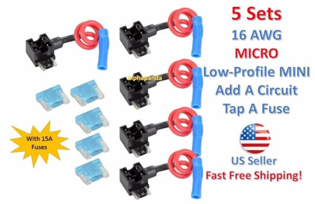 1x Micro Low-Profile Mini Car Auto Truck Add-A-Circuit Fuse Tap Holder Blade 15A