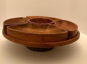 MID-CENTURY-Acacia-Wood-Sectioned-Serving-Tray-On-Pedestal-Monkey-Pod-Vintage