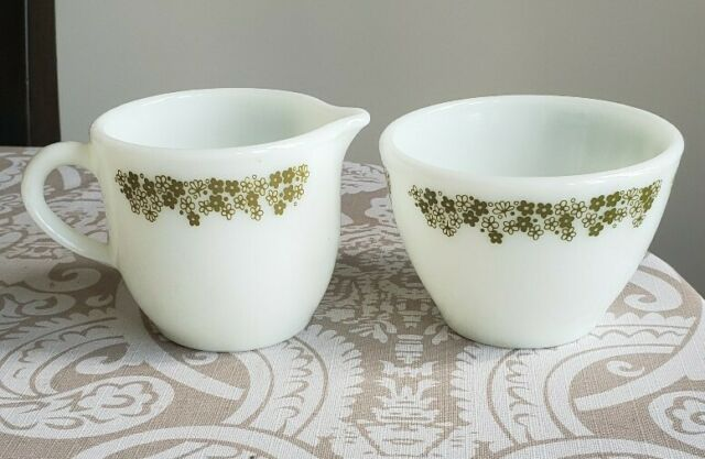 Pyrex vintage Spring Blossom cream and butter set.