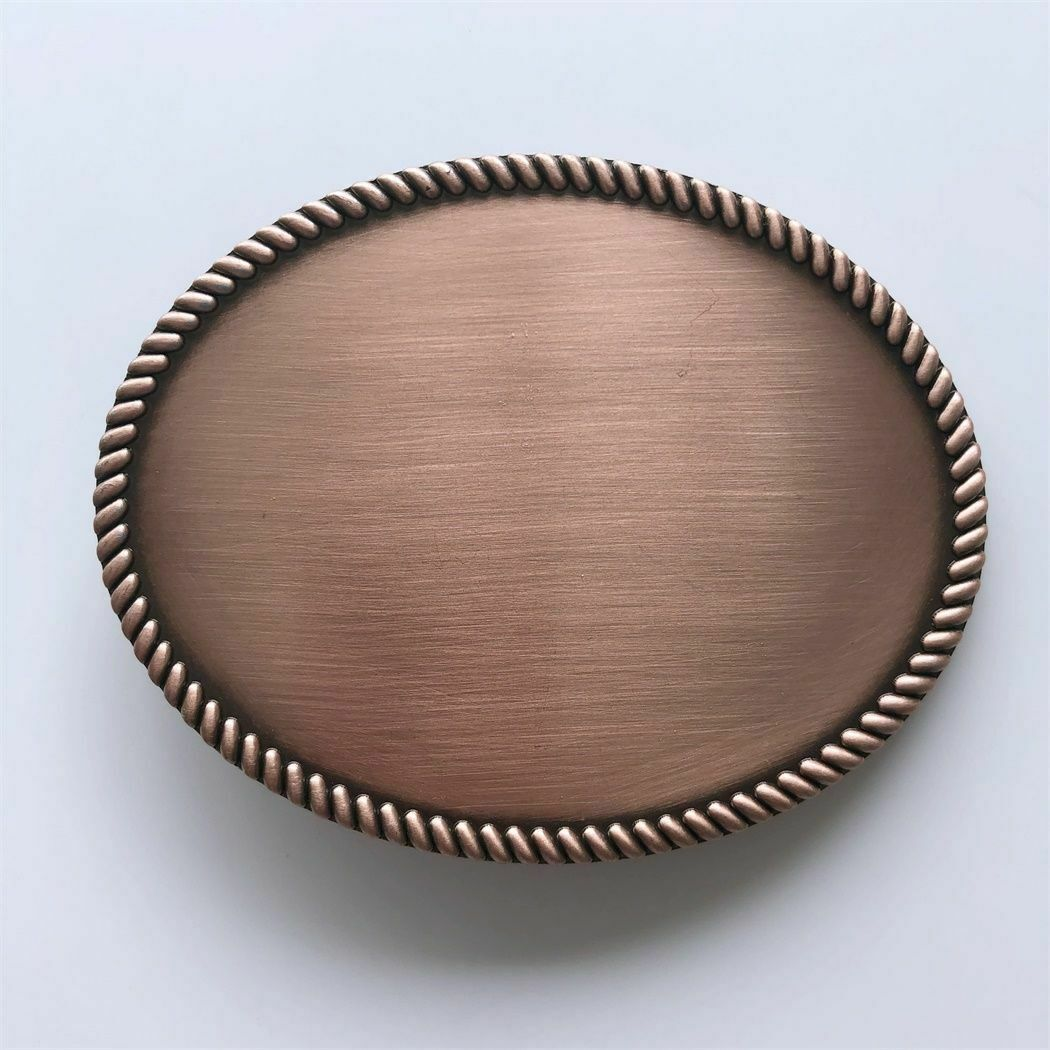 Red Copper Plated Western Rope Oval Blank Metal Fashion Belt Buckle