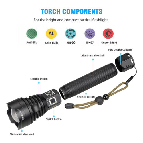 1200000 Lumens Ultra Bright xhp LED Flashlight Rechargeable Camping Hiking Torch