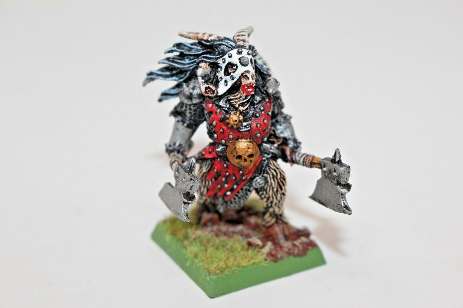 Warhammer beastmen beastlord mit gepaart mann ripper achsen metall gut gemalt