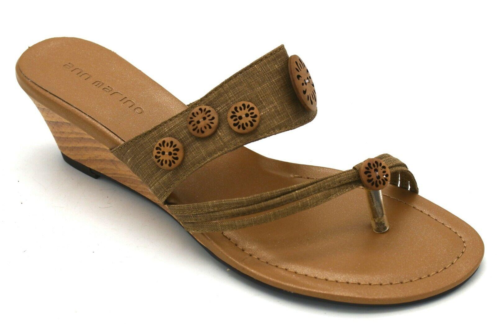 J8256 New Women's Ann Marino Natural Linen T Strap Sandal 9 M