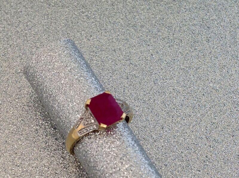 Meraviglioso RUBINO Diamante - - - 9 KT Ruby Diamond Lady Anello-W 66 73152e