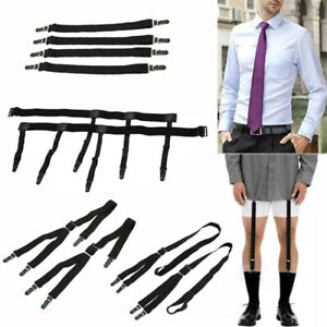 1 Pair Fashion Elastic Adjustable Legs Belts Suspenders For Men Shirt Stays Suspenders Mens Clothes Accessories Apparel Accessories
