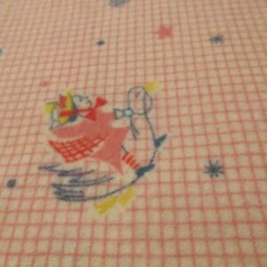 Image Is Loading Vtg Baby Flannel Fabric Nursery Rhyme Pink Mother