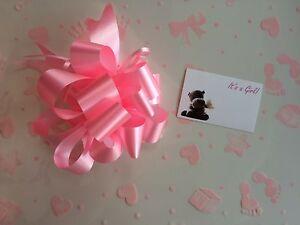Cellophane Papier Cadeau 2 m x 80 cm Rose Baby Shower Fille Libre Pull Bow /& carte
