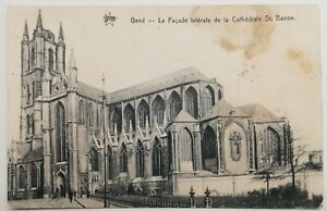 811-Antique-Postcard-Gand-La-Facade-Side-Loading-La-Cathedral-st-Bavo