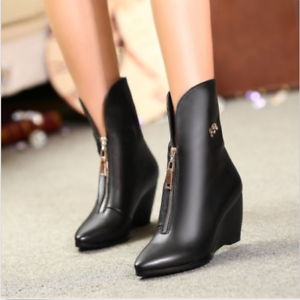 2017 Women's Real Leather Pointed shoes Wedge High Heels Zip Ankle Boots US Size