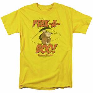Curious George Peek A Boo T Shirt Mens Licensed Cartoon Merchandise Yellow
