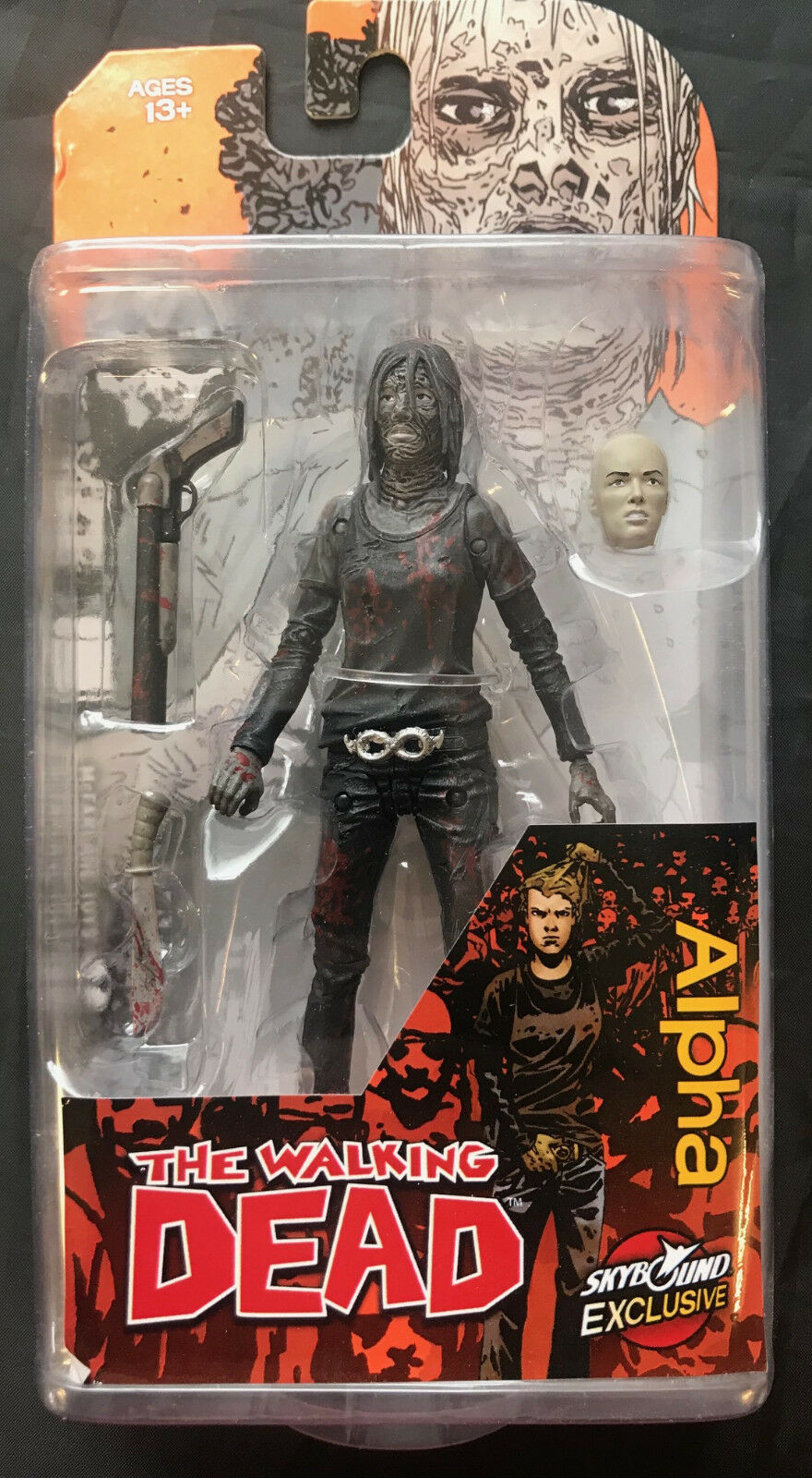 McFARLANE THE WALKING DEAD ALPHA SKYBOUND EXCLUSIVE BLOODY B&W ACTION FIGURE