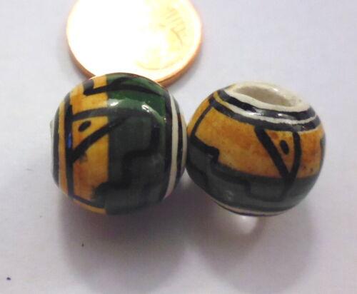 2 pièces peruperle boule 10 mm vert jaune en céramique avec motif céramique /& porcelaine