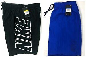 Nike-Men-039-s-Big-Leg-Logo-9-034-Volley-Swim-Trunks-Board-Shorts-Black-Blue-NESS8518