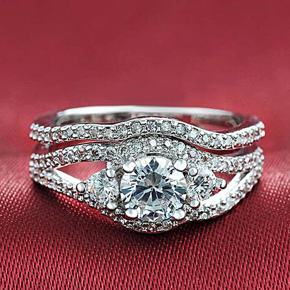 Certified 1.65Ct White Round Cut Diamond 14K gold Engagement & Wedding Ring Set