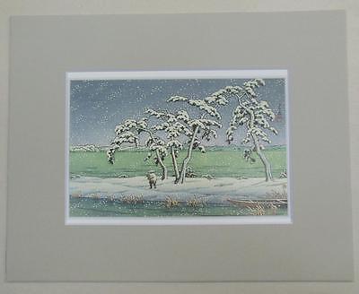 """Matted Print Kawase Hasui Japan Snows at Hinuma Swamp  8 x 10/"""" Sealed Gray Mat"""