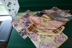 Details About Vtg 5 10 5 8 12 9pc 3 12 Personalized Quilt Blocks Squares 30 40s Fabric