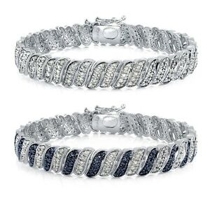1-00ct-TDW-Genuine-Diamond-Wave-Link-Tennis-Bracelet-in-Brass-in-Brass