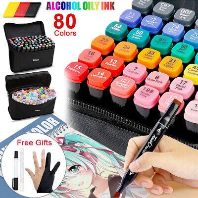 80 Farbe Stift Acrylstifte Twin Tip Art Graffiti Sketch LackMarker Marker Manga✎