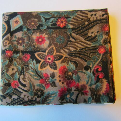 Black Floral Pattern Hoffman Fat Quarter Quilting Cotton Brown with Red Green