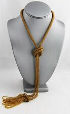 ANTIQUE ART DECO Jewelry TOPAZ GLASS SEED BEAD SAUTOIR Flapper NECKLACE BOOK PC