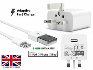 Fast-UK-Mains-Wall-Adapter-Plug-Charger-Power-WITH-3-Meter-USB-Charging-Cable