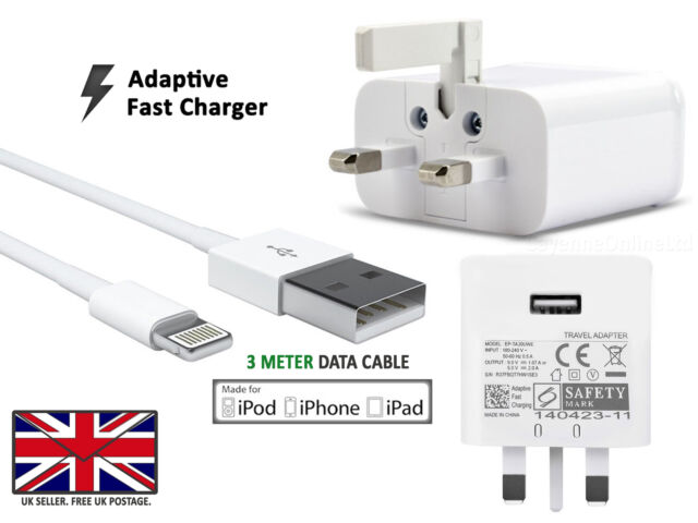 Fast UK Mains Wall Adapter Plug Charger Power WITH 3 Meter USB Charging Cable