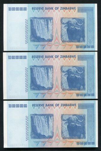 3 AA P-91 UNC CONSECUTIVE 2008 100 TRILLION DOLLARS RESERVE BANK OF ZIMBABWE