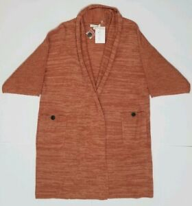 New-with-Tags-Simply-Noelle-Women-039-s-3-4-Sleeve-Pocket-Cardigan-Small-Medium