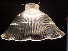 "Prismatic 9"" X 2 1/4"" Holophane Style Ribbed Cone Globe Lamp Shade Pendant"