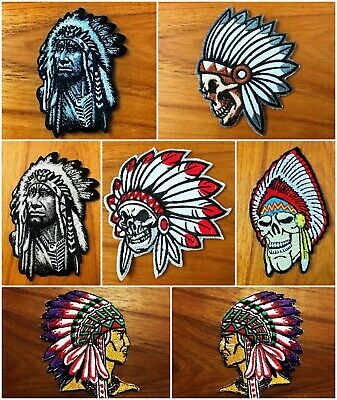 H x W RED INDIAN CHIEF HEAD Embroidered Iron On// Sew On patch 8 cm x 6.3 cm