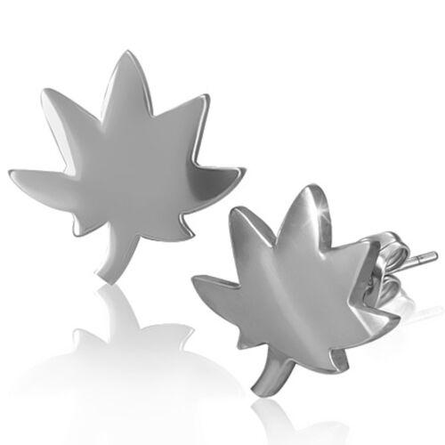 Boucles d/'oreilles homme acier avec motif feuille cannabis et marijuana ZE0036